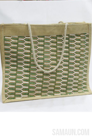 Jute shopping bag with Net weaving-Jute,Bamboo & Ringal-Samaun- The Himalayan Treasure