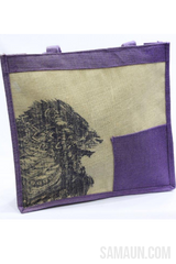 Jute shopping bag in blue & brown with printed Lion-Jute,Bamboo & Ringal-Samaun- The Himalayan Treasure