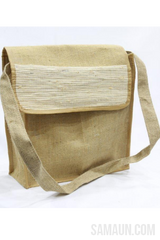 Jute &Bhimal Fiber flap bag with hanging strap-Jute,Bamboo & Ringal-Samaun- The Himalayan Treasure