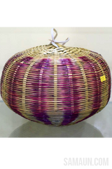 Pumpkin shaped lamp shade in Ringal(Cane)-Jute,Bamboo & Ringal-Samaun- The Himalayan Treasure