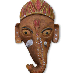 Ramman wooden mask - Lord Ganesha-Ramman wooden masks-Samaun- The Himalayan Treasure