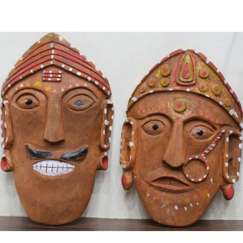 Ramman wooden mask - Pair of Veda-Vedi-Ramman wooden masks-Samaun- The Himalayan Treasure