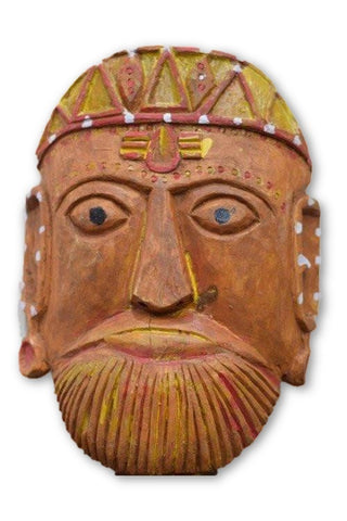 Ramman wooden mask - Lord Brahma-Ramman wooden masks-Samaun- The Himalayan Treasure