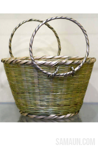 Ringal(Cane) basket with Round handles-Jute,Bamboo & Ringal-Samaun- The Himalayan Treasure