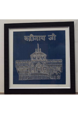 Sri Badrinathji temple in Aipan craft embroidery-Aipan Craft-Samaun- The Himalayan Treasure