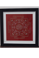Shri Yantra in Aipan craft embroidery-Aipan Craft-Samaun- The Himalayan Treasure
