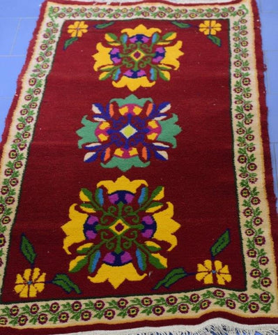 Handmade Uttarakhand Bhotia Red-blue-yellow Woolen Carpet from Badrinath Valley-Himalayan Rugs and Carpets-Samaun- The Himalayan Treasure