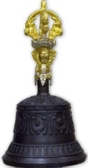 Very fine crafted Tibetan Om bell-black coating-Tibetan Craft-Samaun- The Himalayan Treasure