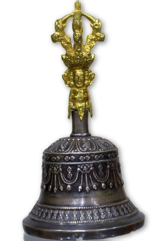 Very fine crafted Tibetan Om bell- medium-Tibetan Craft