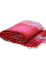 Merino wool Stole in Check design - Pink & Red-Himalayan Shawls & Stoles-Samaun- The Himalayan Treasure