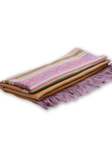 Merino wool Stole in Garhwali diamond design - Purple border-Himalayan Shawls & Stoles-Samaun- The Himalayan Treasure
