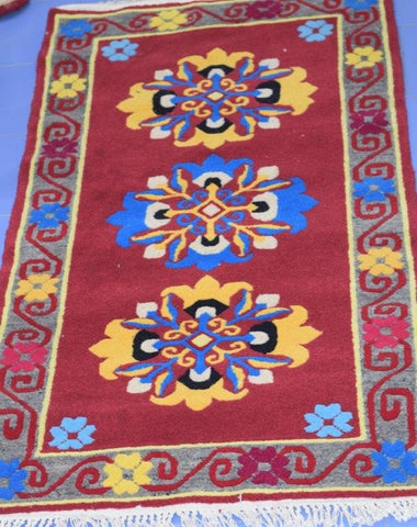 Handmade Uttarakhand Bhotia Red-blue Woolen rug from Badrinath Valley-Himalayan Rugs and Carpets-Samaun- The Himalayan Treasure