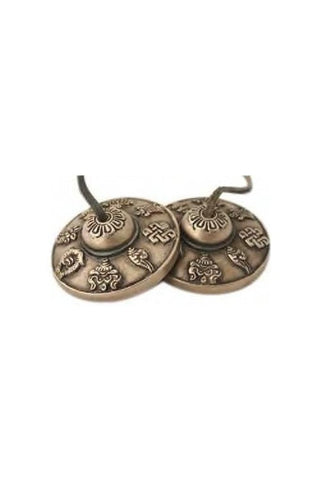 Tibetan Tingsha Meditational Cymbal with Eight Auspicous Symbols-Tibetan Craft-Samaun- The Himalayan Treasure