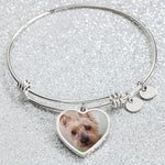 Personalized Heart Charm Adjustable Bangle - Bowie Shoppe
