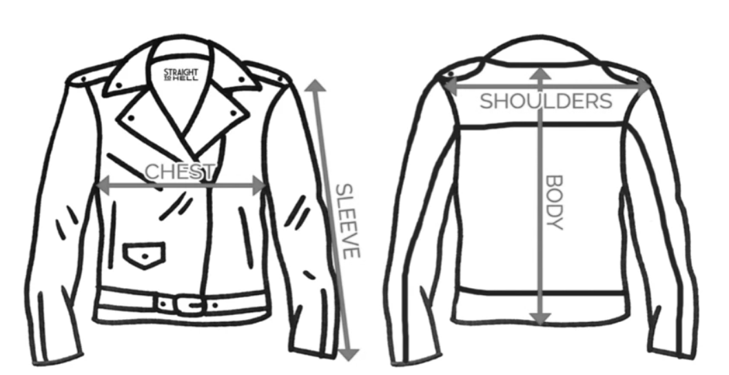 PEARL DENIM JACKET MEASUREMENTS CHART