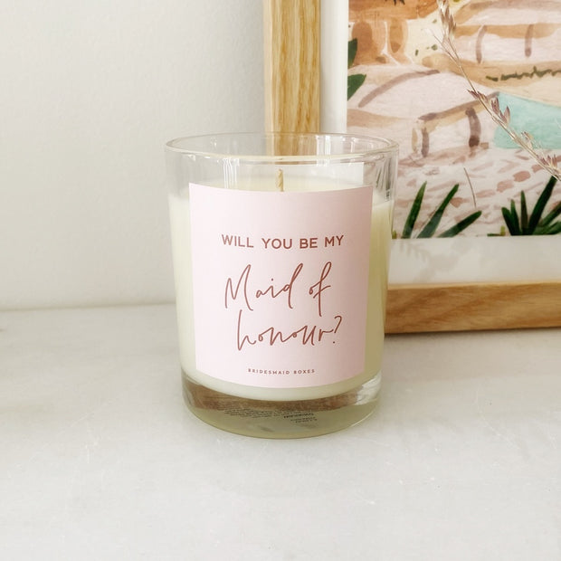 Be My Maid Of Honour? Pink Label Soy Candle