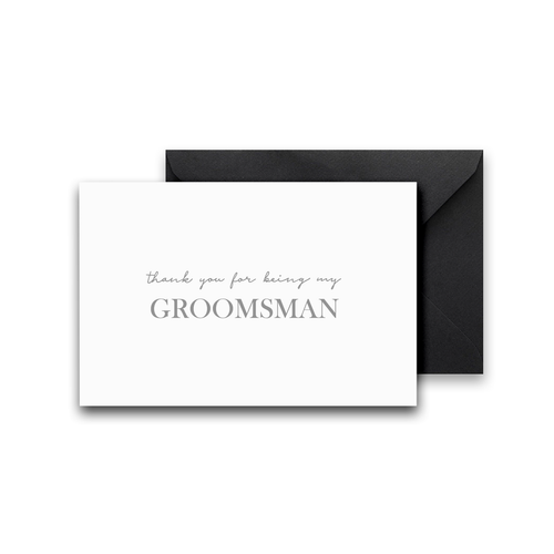 Thank You For Being My Groomsman Silver Foil Card