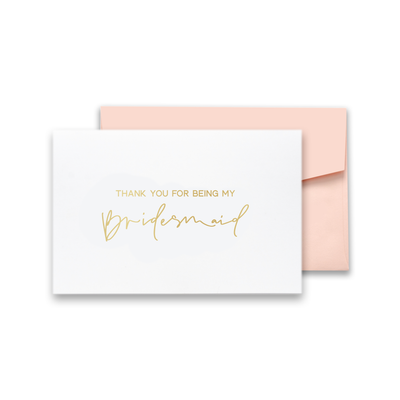 Thank You For Being My Bridesmaid Gold Foil Card