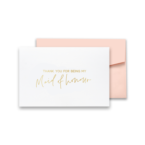 Thank You For Being My Maid of Honour Gold Foil Card