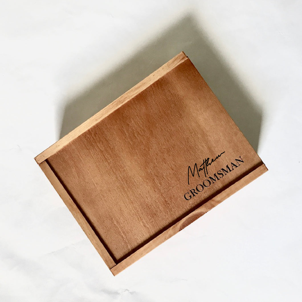 Groomsman Personalised Engraved Timber Hamper Box - Empty