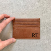 mens leather card holder wallet engraved personalised