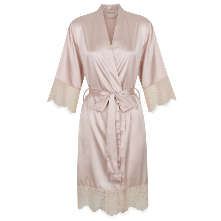 Bridal Party Robes Satin Luxury Lace Stunning Dusty Soft Pink