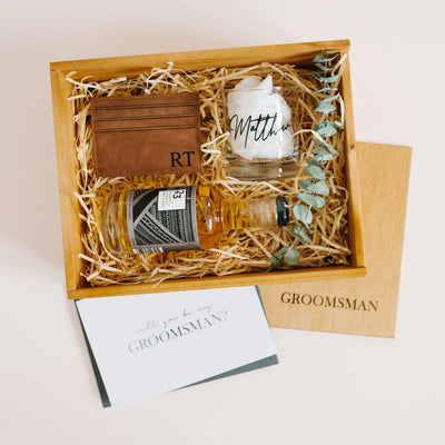 groomsman gift box wooden leather wallet card holder whiskey best man gifts bridesmaid boxes