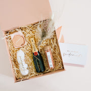 Luxury will you be my bridesmaid moet champagne flute bath salts mirror compact lustre rose bridesmaid boxes