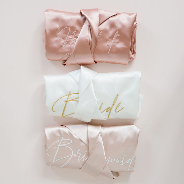 maid of honour bride robes embroidered satin bridesmaid boxes