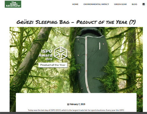 'The Green Adventurer' entdeckt den Schlafsack 'Product of the year'!