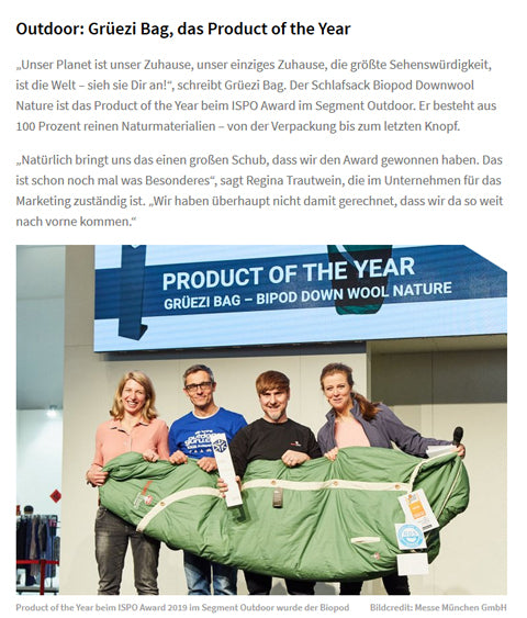 ISPO Award 2019-Gruezi bag-Product of the year