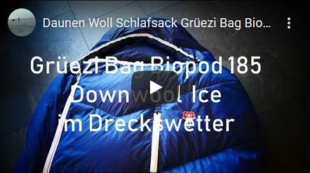 Grüezi bag Biopod DownWool Ice Schlafsack Test Video auf Youtube