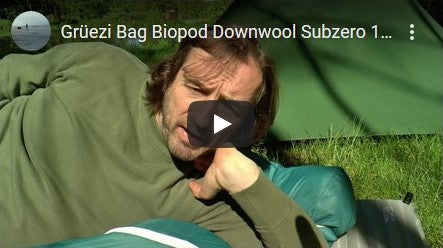 Grüezi bag Biopod DownWool Subzero Sleeping Bag Test of jackknife68 Youtube Video Thumbnail