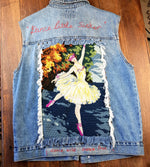 """Dance Little Sister"" Bespoke Denim Vest - Hand embellished recycled denim by Billee"