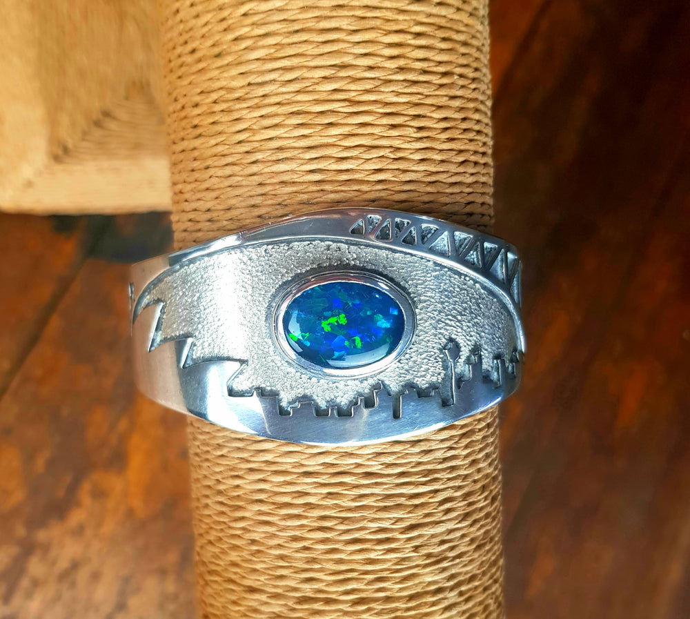 "Handcrafted Silver ""Sydney"" cuff set with Blue/Green Opal Triplet by Silver Wolf"