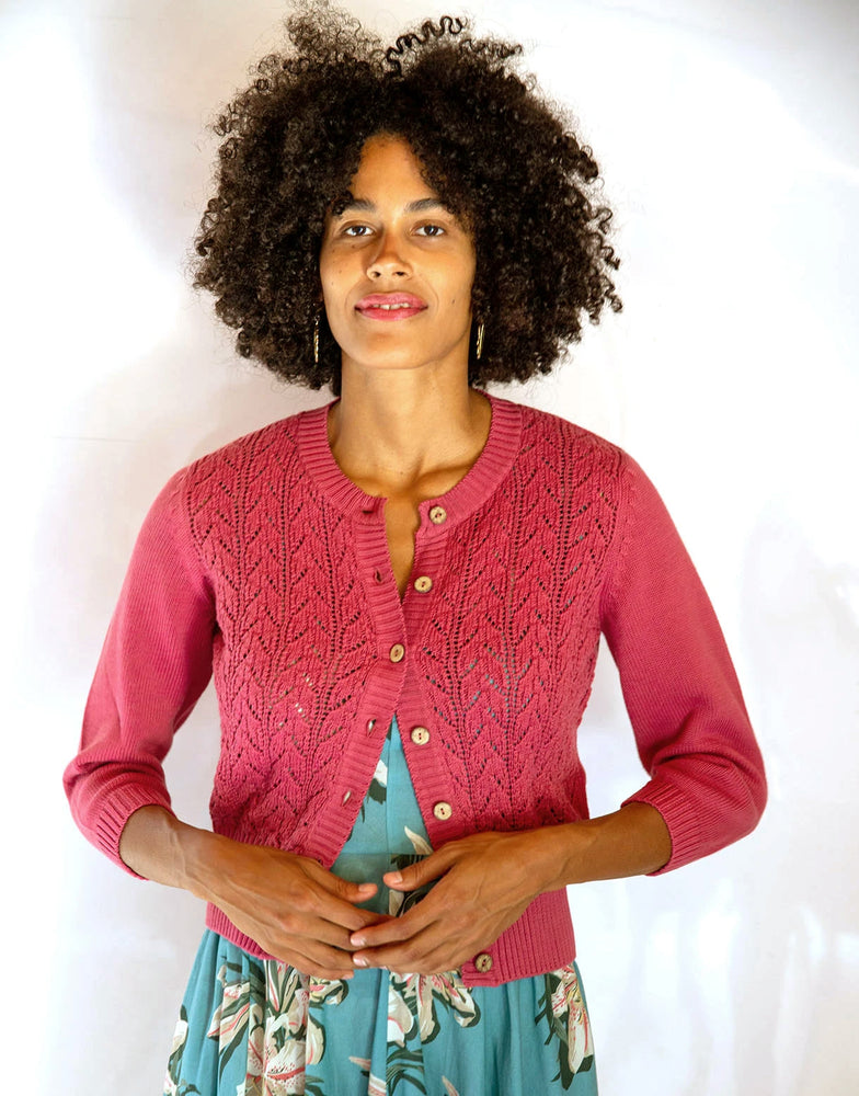 Ava Cardigan in Rose *organic cotton by Lazybones