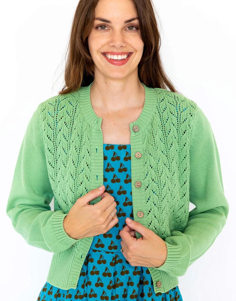Ava LS Cardigan in Peapod *organic cotton by Lazybones
