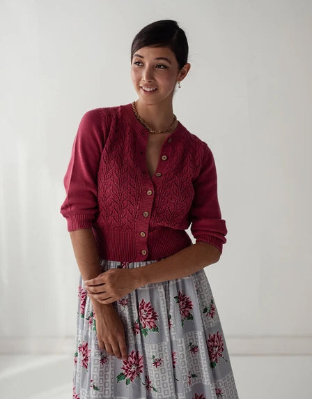 Ava cardigan in Deep Rose*organic cotton by Lazybones