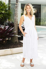 Bardot Dress in White or Navy by Ruby Yaya