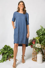 Boatneck Shift Dress in Capri Blue by Adrift