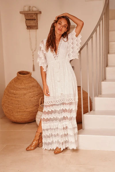 Bungalow Maxi dress in White by JAASE