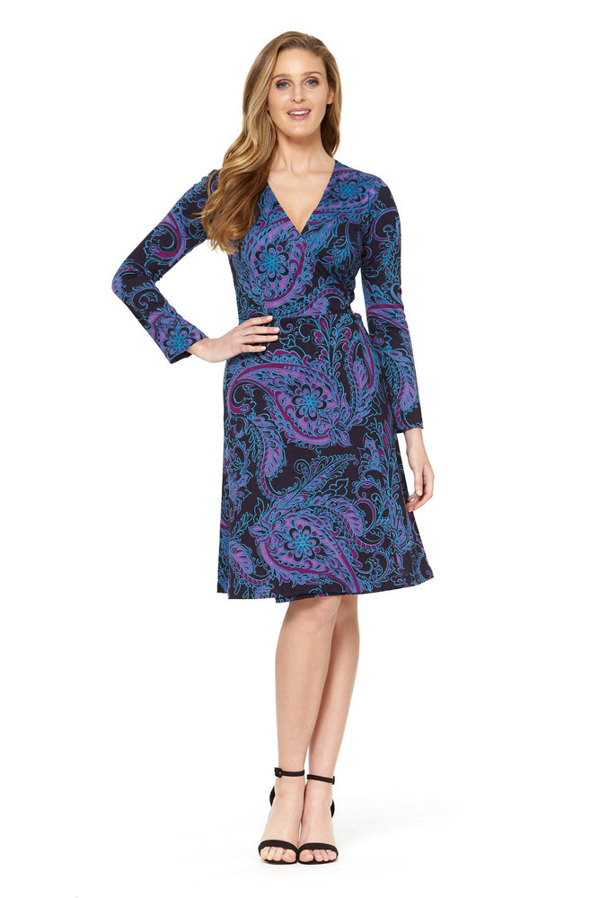Sunburst L/S Wrap Dress - Barca Print by Rasaleela