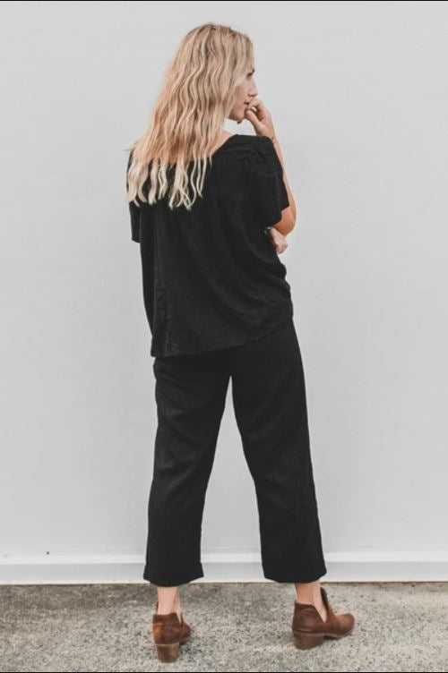 Linen Chino Pant in Black by Dreamers & Drifters