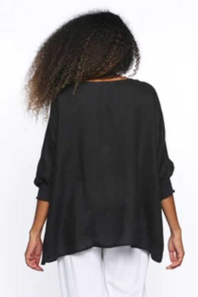 Cherie Round Neck Top in Black by Adrift