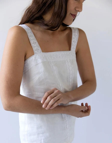 Delphine lace top in Warm White by Lazybones