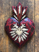 Handmade in Mexico - Red Milagros Heart - 17x12cm