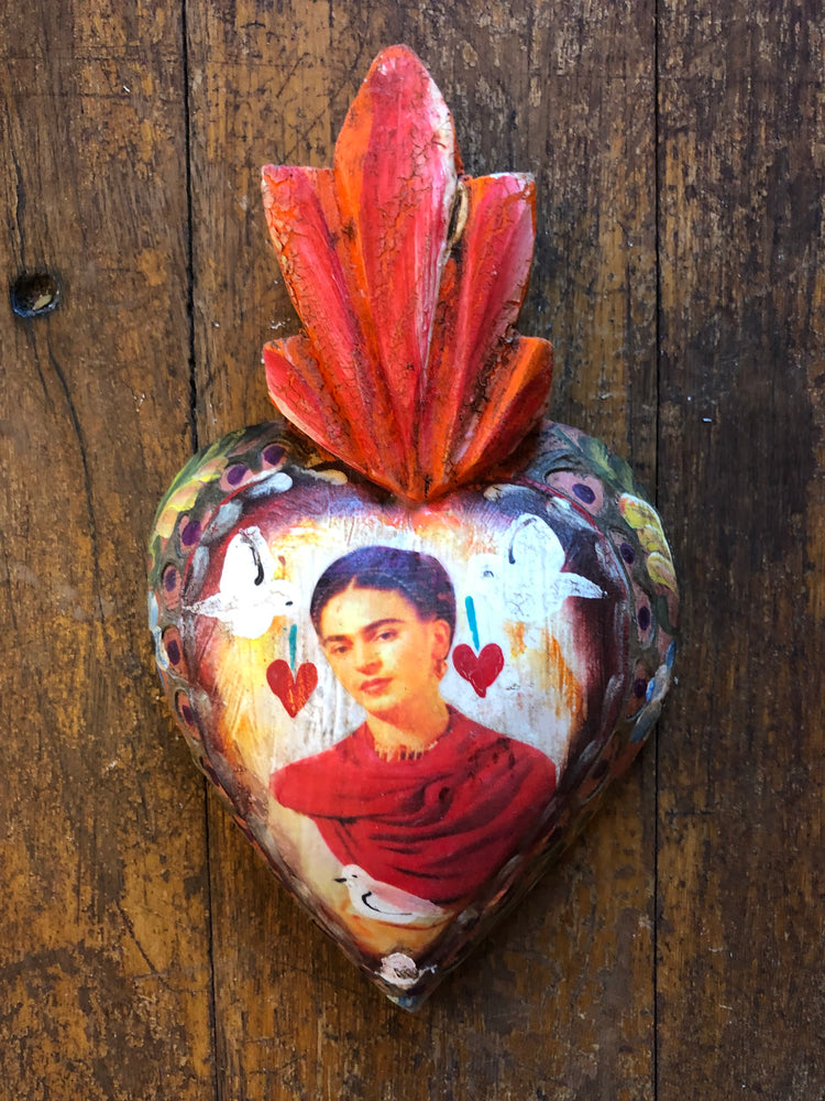 Handpainted Red Frida Heart