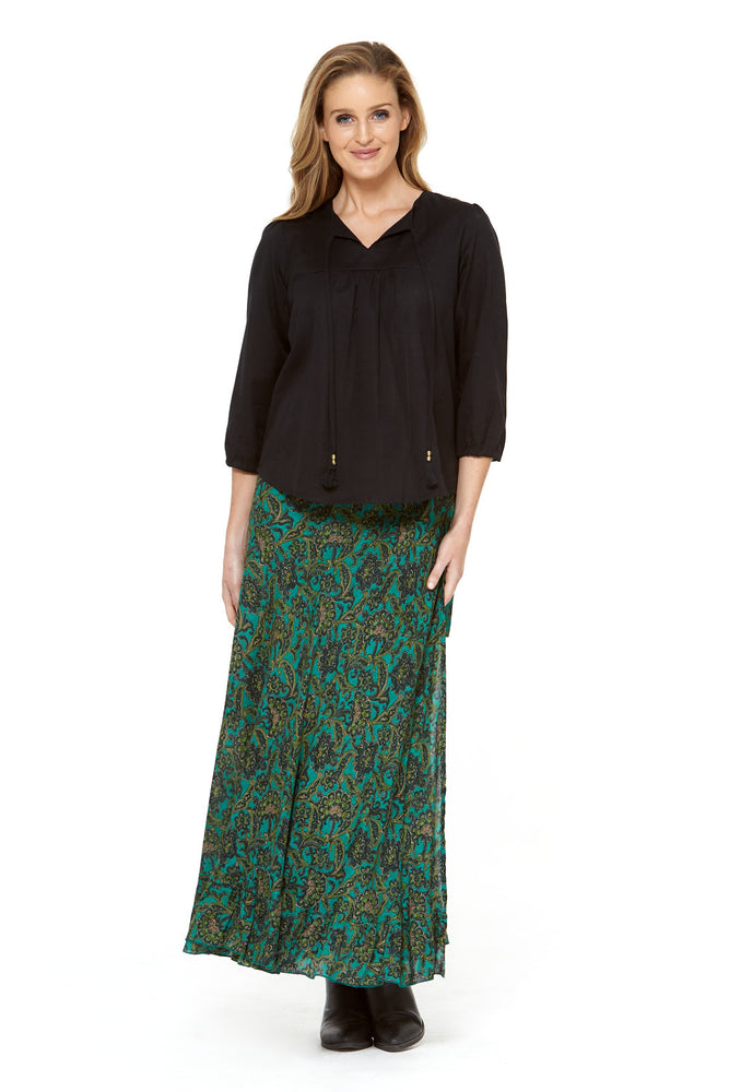 Madrid Frill Wrap Skirt in Lotus Print by Rasaleela