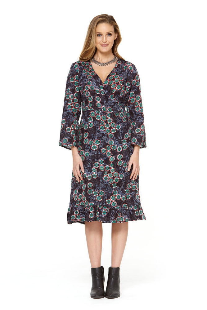 Greta Rayon Wrap Dress - Twilight Print by Rasaleela