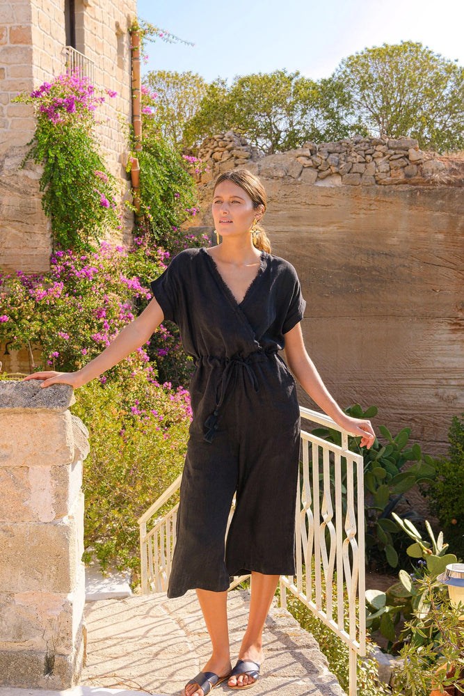 Lucette Linen Jumpsuit in Black by Adrift - LAST ONE!